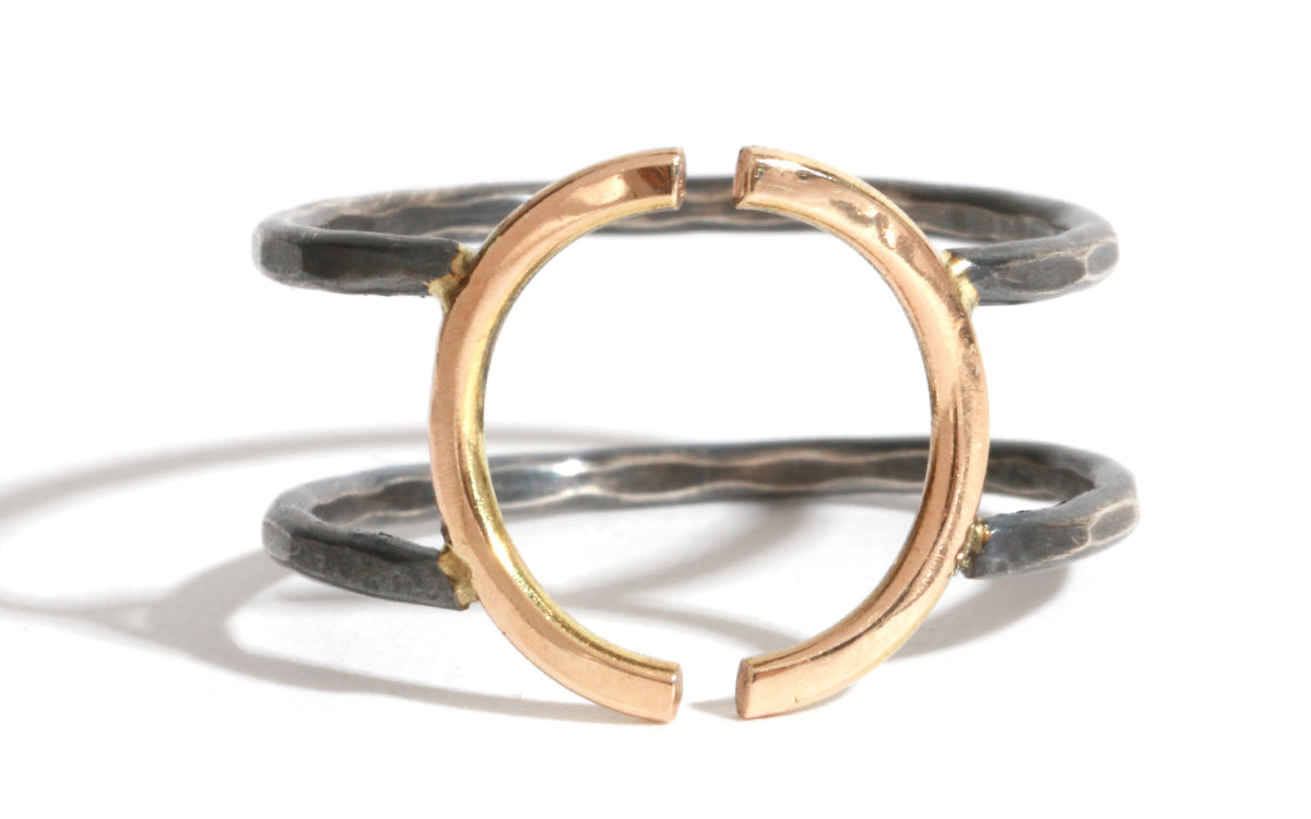 Open Crescent Ring - Silver and Gold - Melissa Joy Manning Jewelry