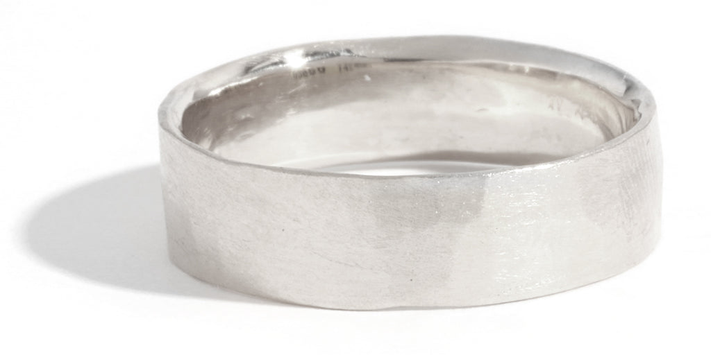 Hammered Texture 6mm Band - 18 Karat White Gold