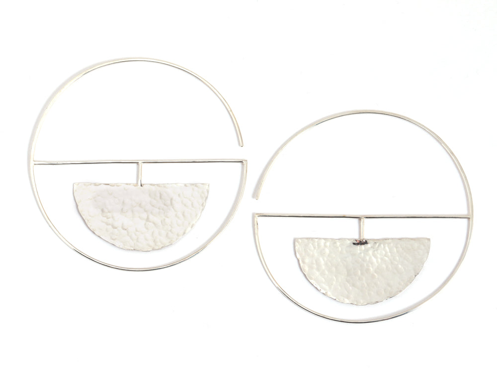 Hammered Eclipse Hoop earrings - Melissa Joy Manning Jewelry