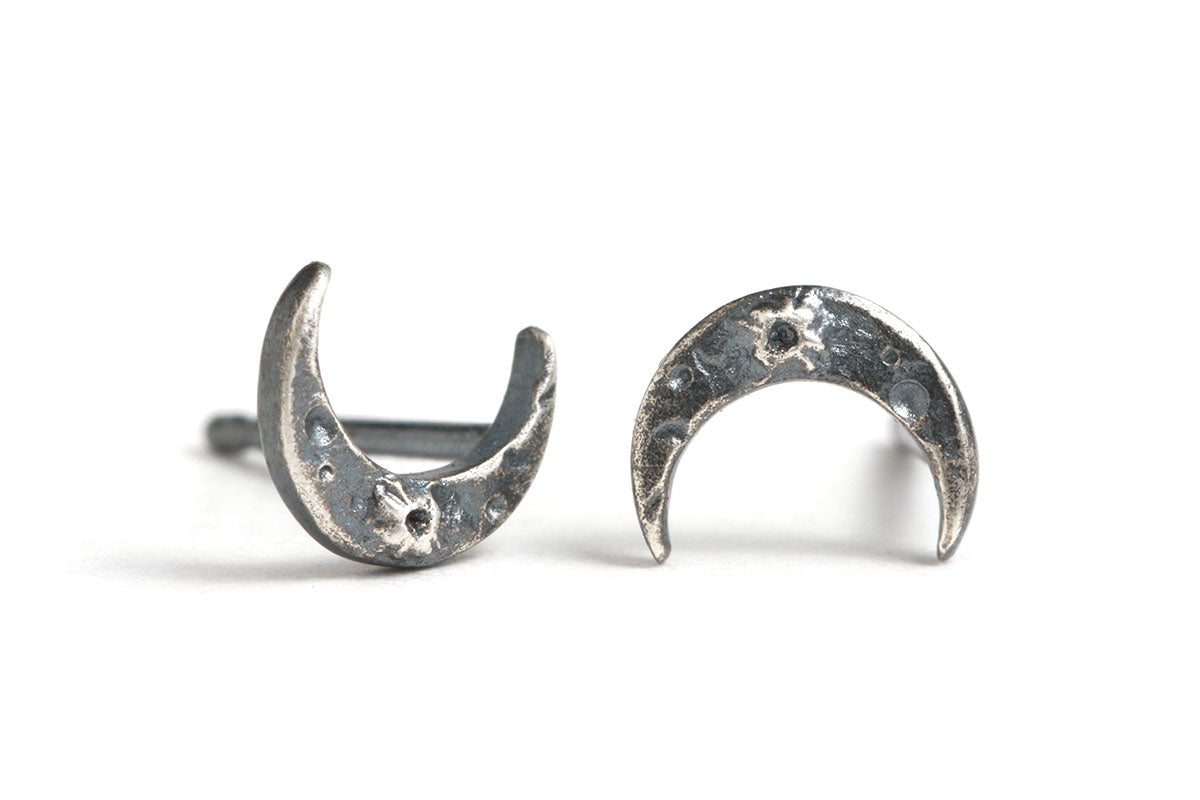 Oxidized Silver Tiny Crescent Moon Studs