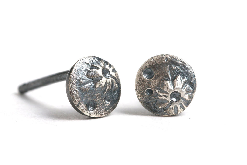 Oxidized Silver Tiny Moon Studs