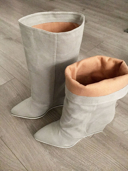 folded back vegan boots by Ivana Basilotta for No One's Skin
