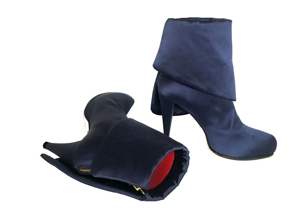 innovative blue satin vegan boots, luxury designs by Ivana Basilotta for No One's Skin