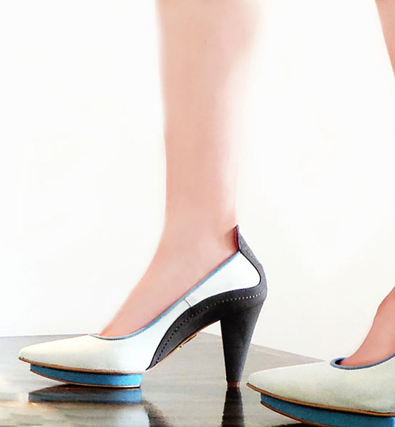 cone heels on the catwalk luxury vegan designs by Ivana Basilotta for No One's Skin