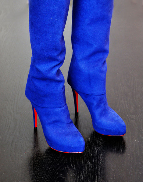 side view of blue vegan boots, luxury by designer Ivana Basilotta for No One's Skin