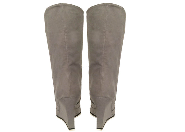 Antoinette pale grey wedge boots