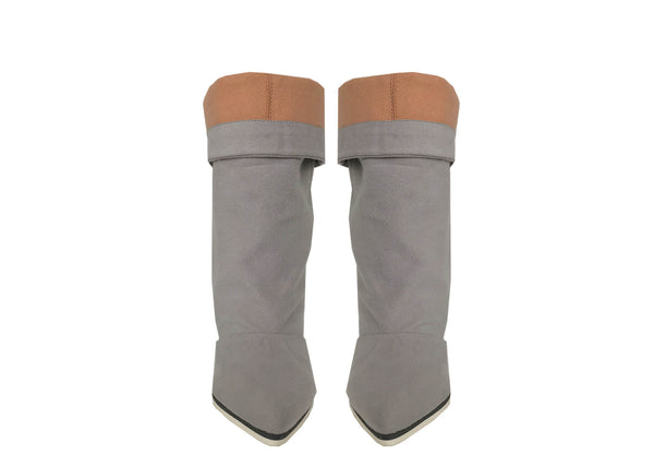 grey vegan boots, luxury cruelty free boots by Ivana Basilotta for No One's Skin
