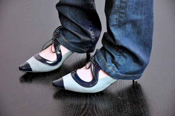 kitten vegan designer shoes, worn with denims by designer Ivana Basilotta for No One's Skin