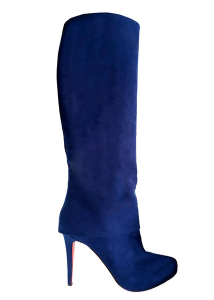 royal blue knee hight vegan boots, designer Ivana Basilotta for NO ONE SKIN
