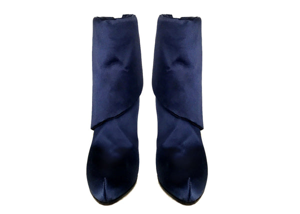blue satin vegan boots, by designer Ivana Basilotta for No One's Skin