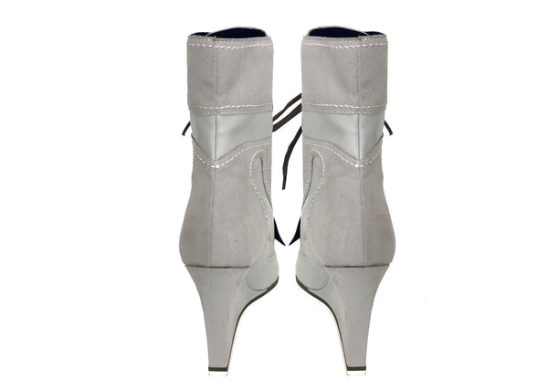 grey elegant ankle boots wedges by Ivana Basilotta for No One's Skin