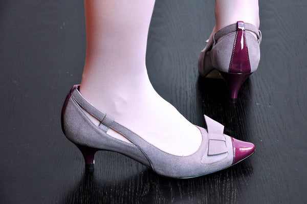 on the catwalk lacer cut bow, wine lacquer pointy toe, by Ivana Basilotta for No One's Skin