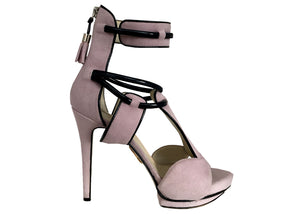 Paris pale-lavender vegan ankle sandals
