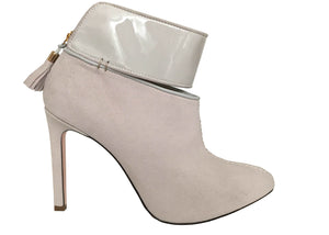 side shot of grey ankle boots, Ivana Basilotta design