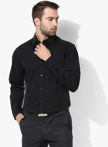 Black Solid Slim Fit Formal Shirt