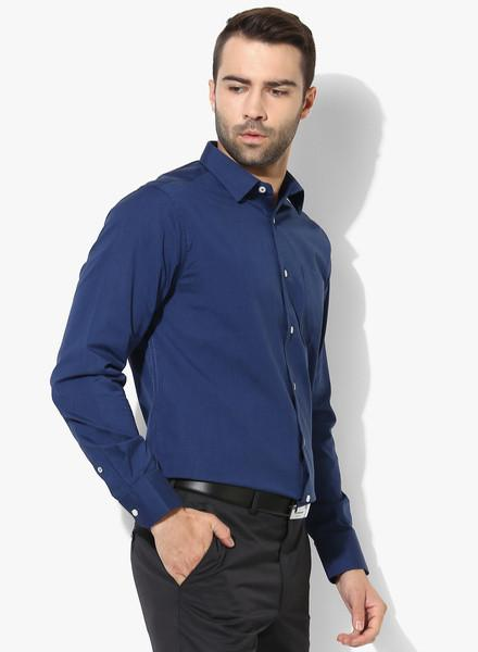 Navy Blue Textured Slim Fit Formal Shirt