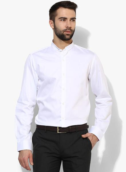 White Solid Slim Fit Formal Shirt