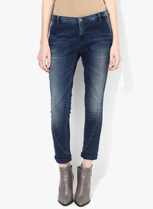 Blue Washed Mid Riseslim Fit Jeans