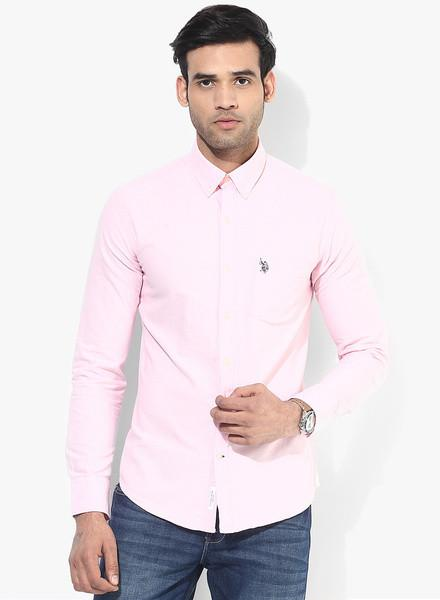 Pink Solid Slim Fit Casual Shirt