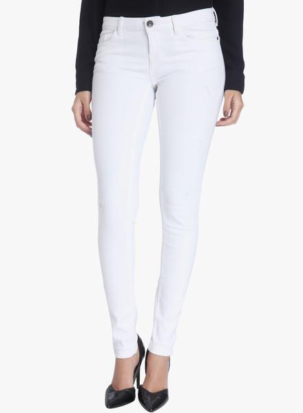 White Solid Mid Rise Slim Fit Jeans