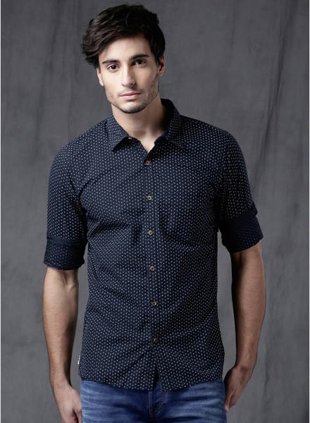 Navy Blue Printed Slim Fit Casual Shirt