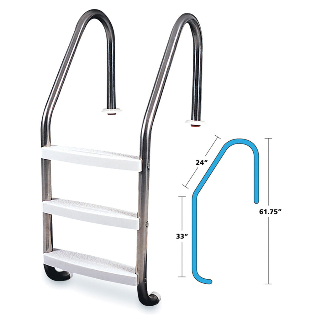 3-Step Inground Stainless Steel Ladder 61.75""