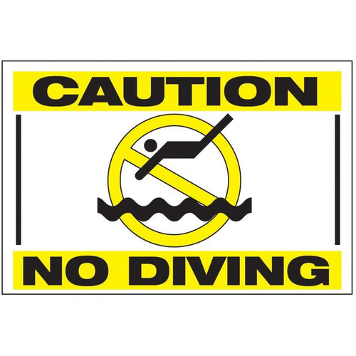 Caution No Diving Pool Sign - 8988