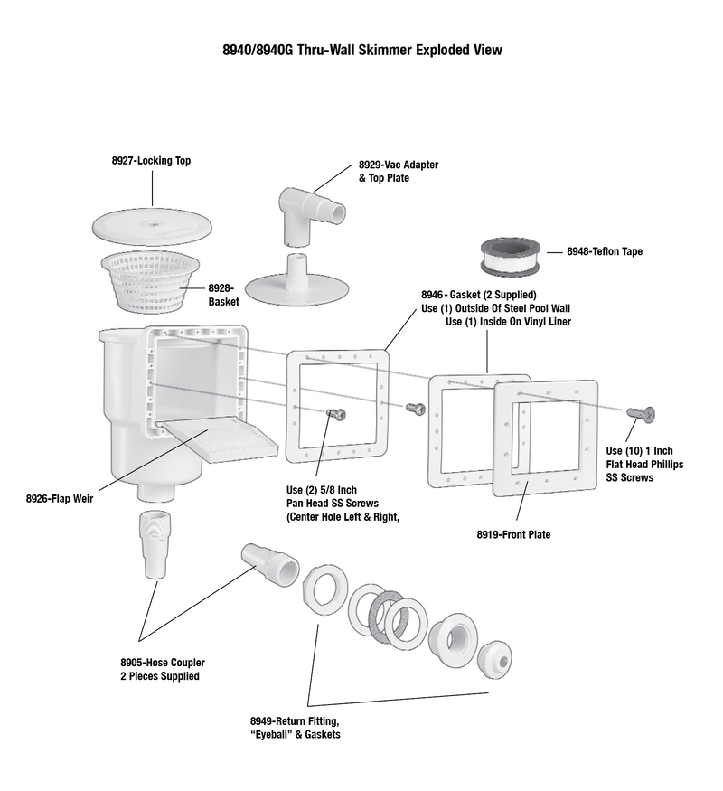 **Thru-Wall Skimmer Parts