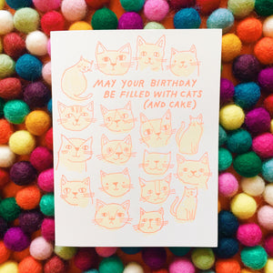Cats and Cake Birthday Card