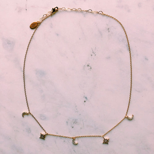14K Gold Constellations Choker Necklace