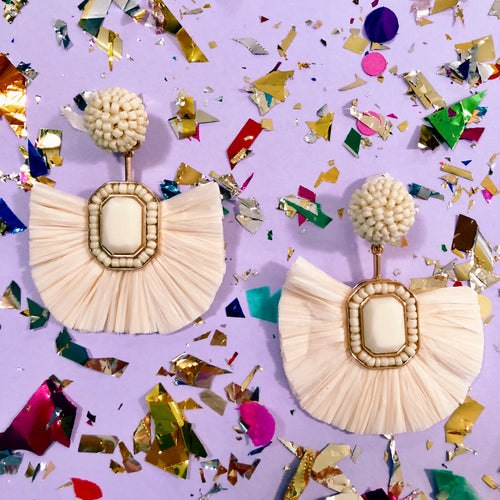 Ivory Beaded Raffia Earrings