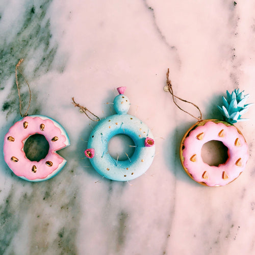 Cactus, Pineapple & Watermelon Donut Ornaments