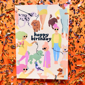 Dog Walkers Birthday Greeting Card