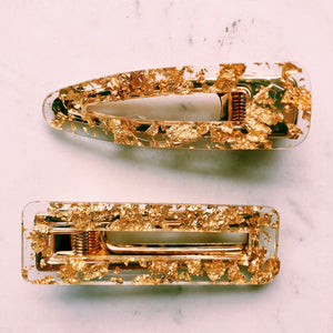 Acrylic Gold Flake Hair Clip Set