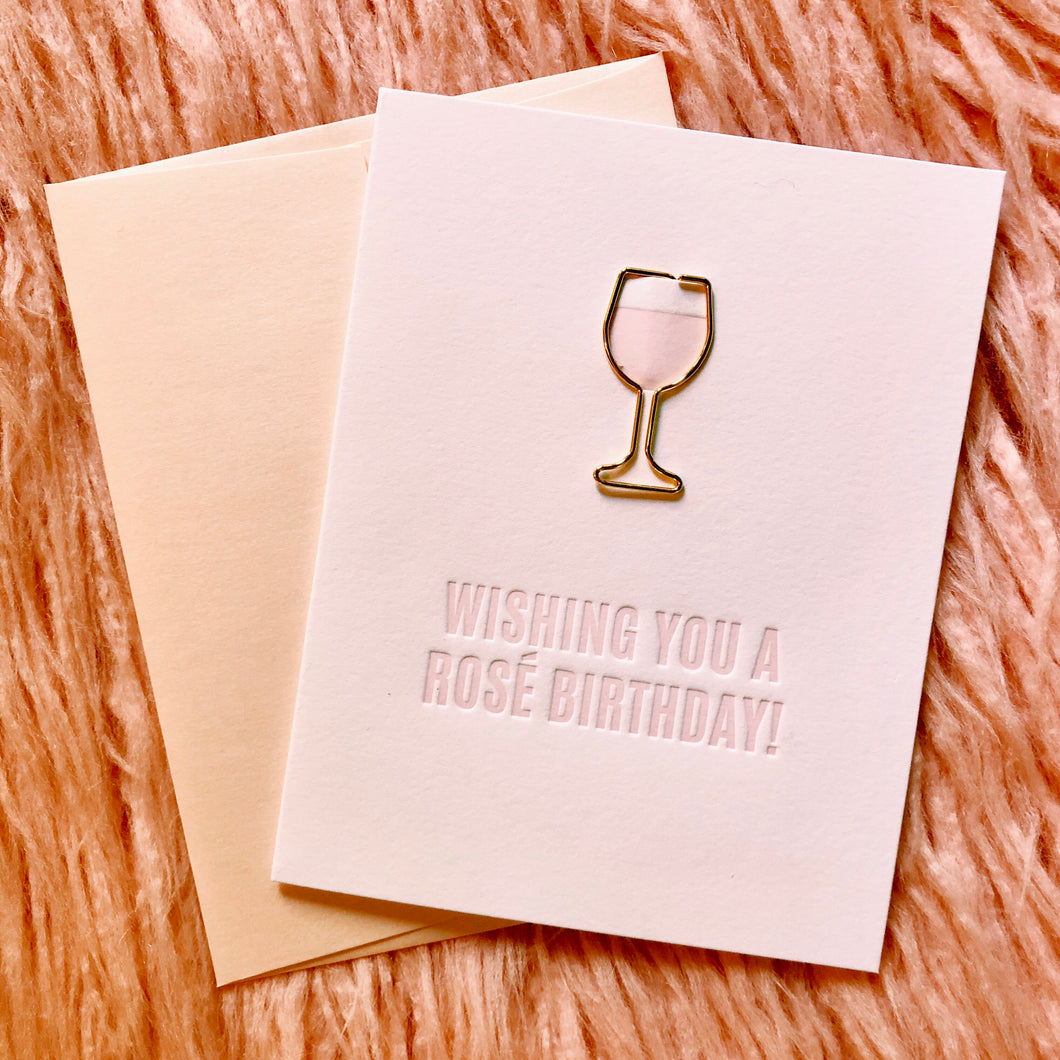 Wishing You a Rosé Birthday Card