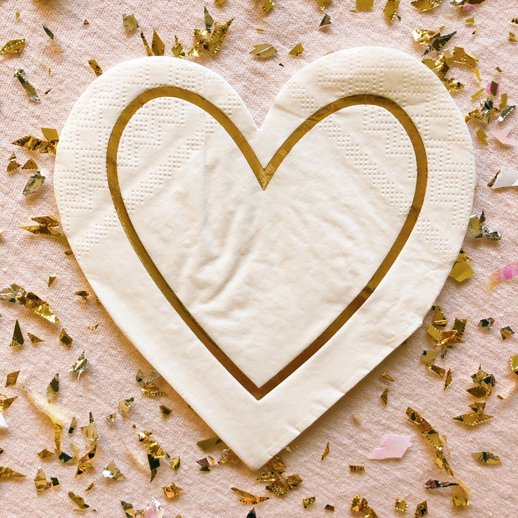 Gold Heart Outline Napkins