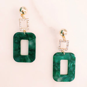Resin Rectangle Earrings in Green with Crystals