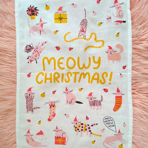Meowy Christmas Tea Towel