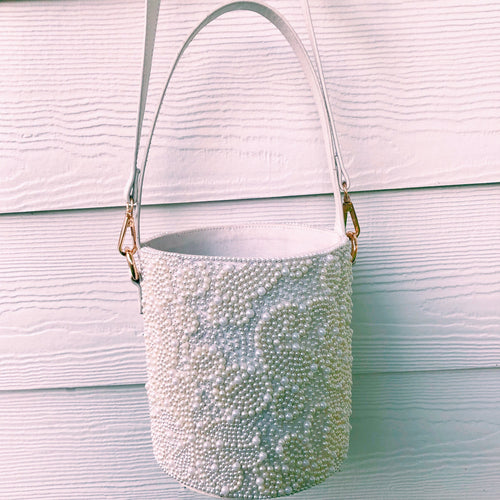 Pearl Embroidered Bucket Bag
