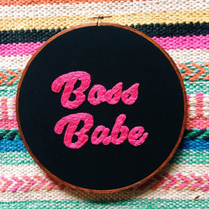 Boss Babe Embroidered Hoop
