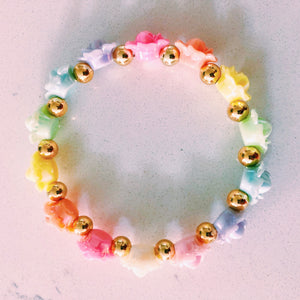 Iridescent Rainbow Flower Bracelet