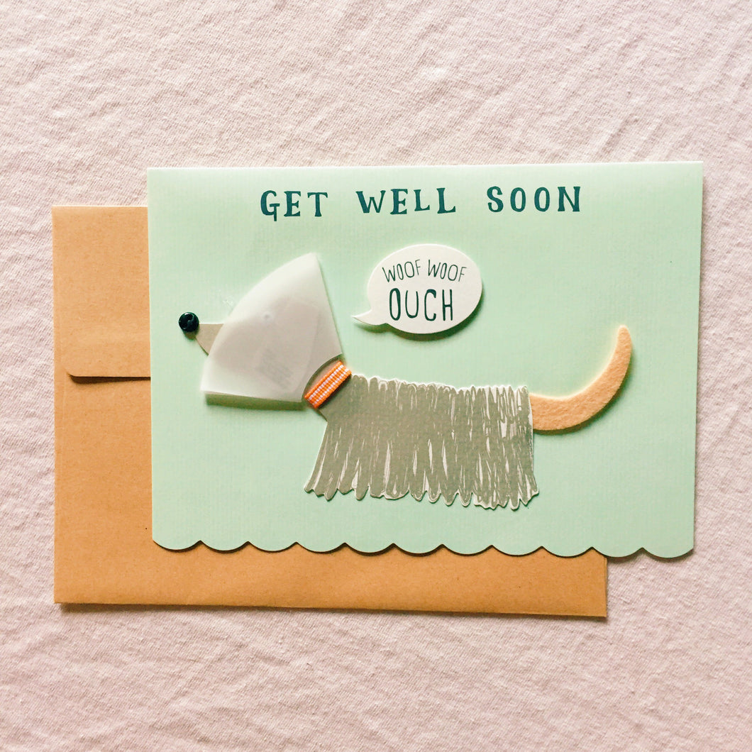 Woof Woof Ouch - Get Well Soon Card
