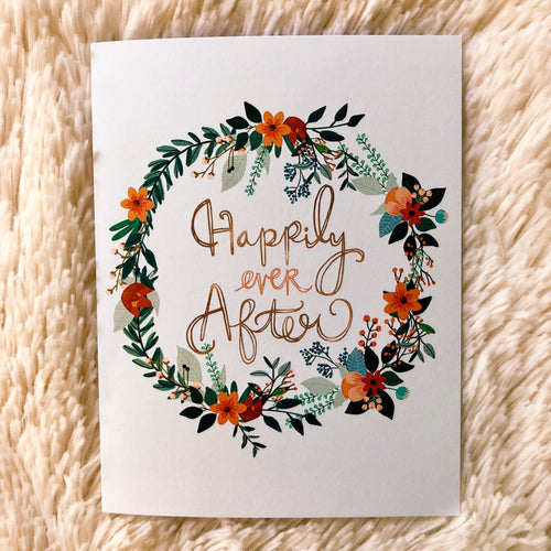 Happily Ever After Floral Wedding Greeting Card