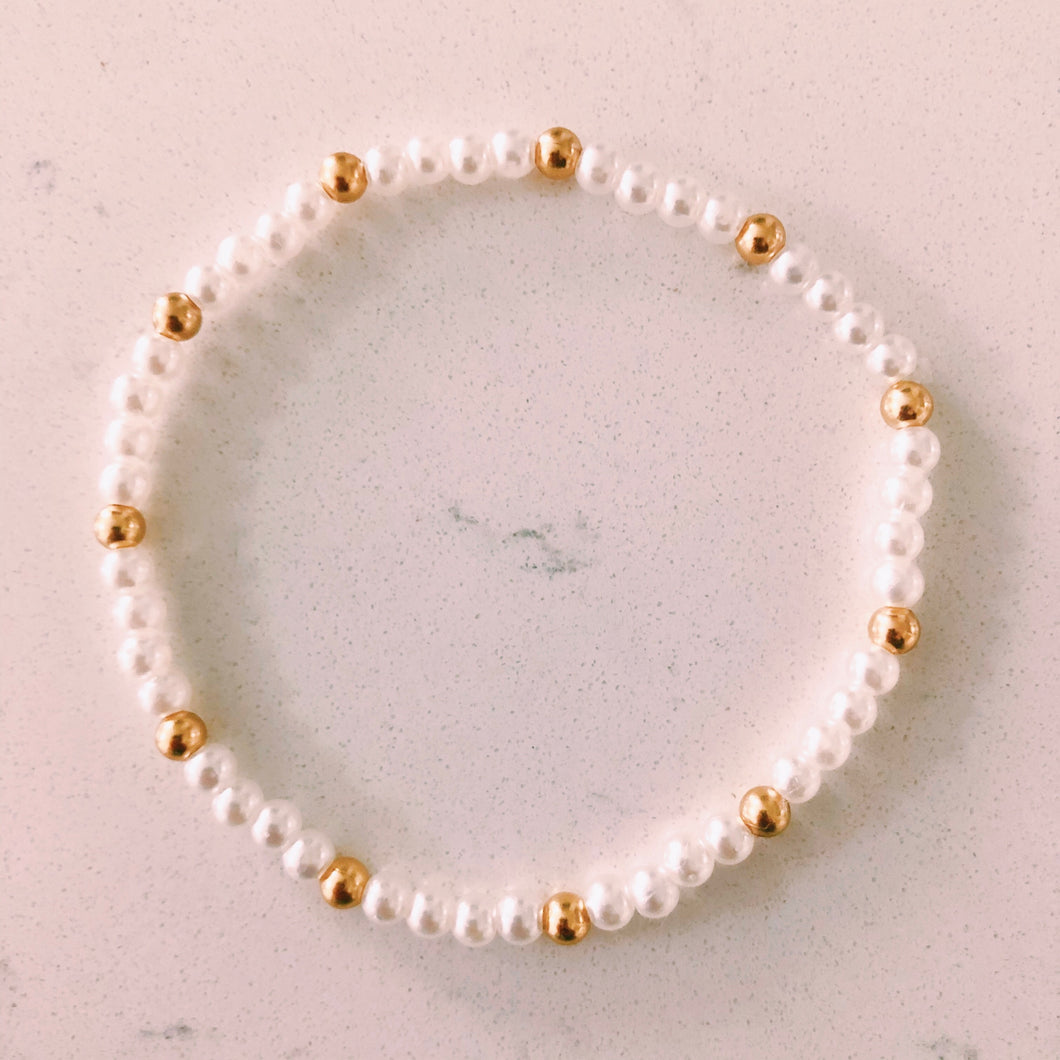 Pearls & Gold Bead Bracelet