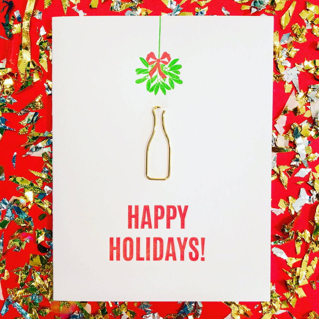Happy Holidays Mistletoe Card