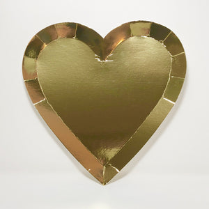 Large Gold Heart Paper Plates