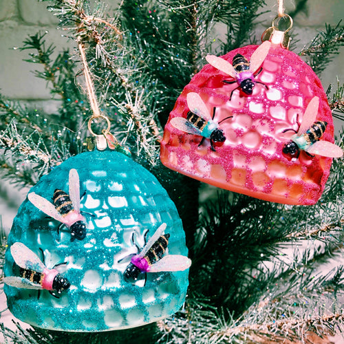 Beehive Ornaments Set of 2