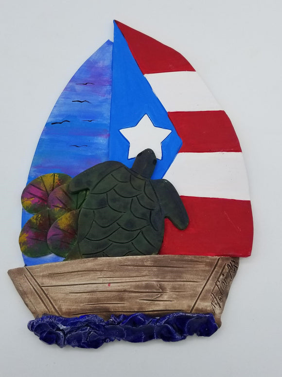 Puerto Rico Flag Sailboat + Turtle Artisan Craft