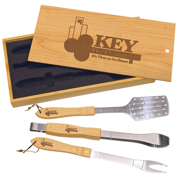 3-Piece BBQ Set in Wooden Pine Box