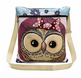 Custom Retro Embroidered Owl Shoulder Bag with your Name